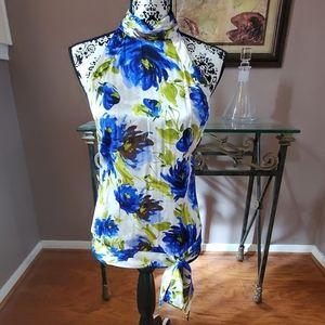 CACHE cobalt blue floral silk blouse size M
